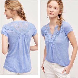 Anthropologie Deletta Aria Linen Lace Top